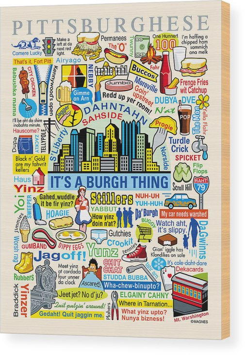 Pittsburgh Wood Print featuring the digital art Pittsburghese by Ron Magnes