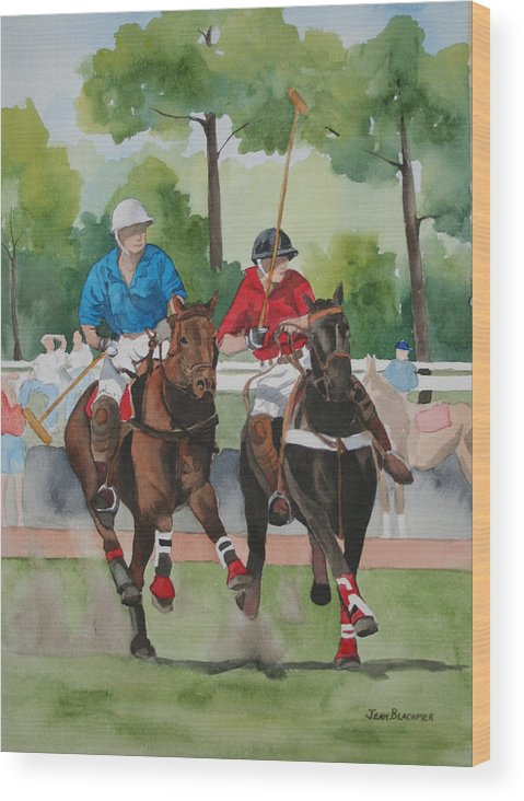 Polo Wood Print featuring the painting Polo In The Afternoon 2 by Jean Blackmer
