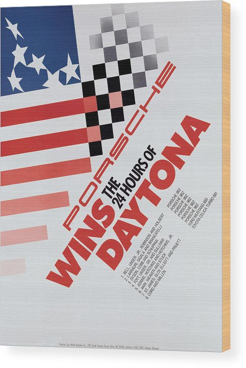 Porsche Wood Print featuring the digital art Porsche 24 Hours of Daytona Wins by Georgia Fowler