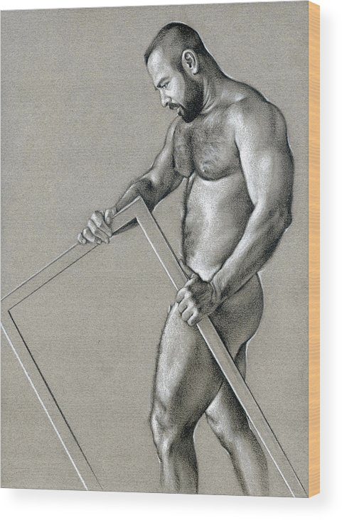 Male Wood Print featuring the drawing Rectangle 2 by Chris Lopez