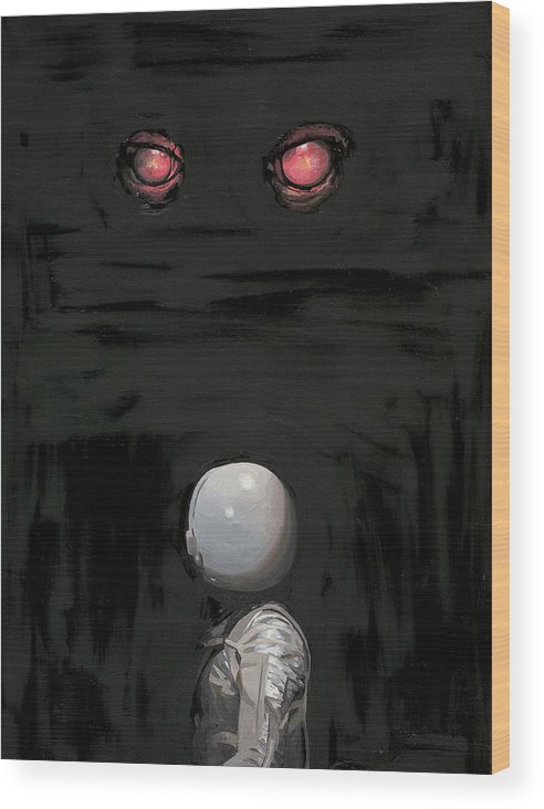 Astronaut Wood Print featuring the painting Red Eyes by Scott Listfield