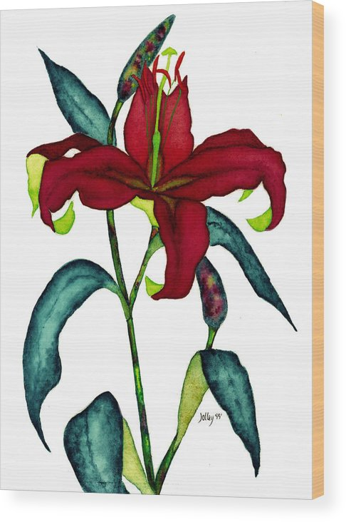 Watercolor Wood Print featuring the painting Red Lily by Stephanie Jolley