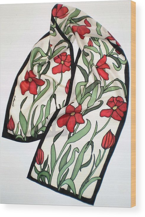Silk Wood Print featuring the painting Red Poppies Silk Scarf by Linda Marcille