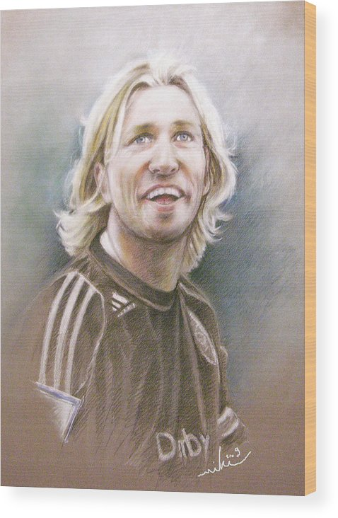Pastel Portrait Wood Print featuring the painting Robbie Savage by Miki De Goodaboom