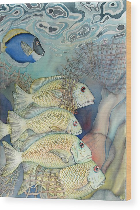 Sealife Wood Print featuring the painting Rose Island II by Liduine Bekman