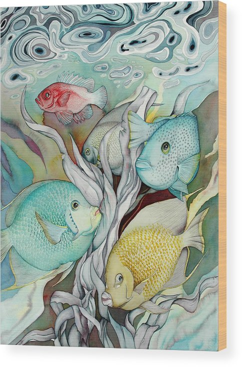 Sealife Wood Print featuring the painting Rose Island IV by Liduine Bekman
