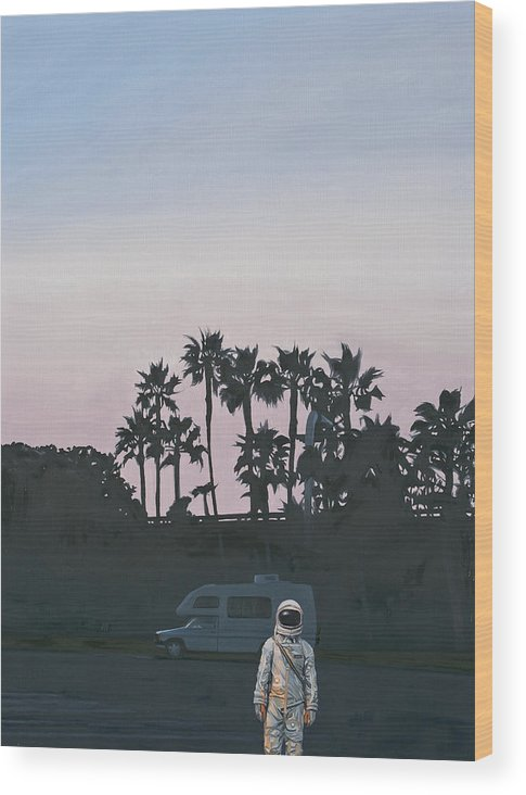 Astronaut Wood Print featuring the painting RV Dusk by Scott Listfield