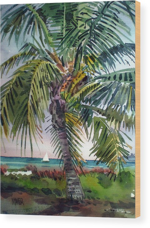 Palm Tree Wood Print featuring the painting Sailboat in the Keys by Donald Maier