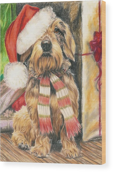 Hound Group Wood Print featuring the drawing Santas Little Yelper by Barbara Keith