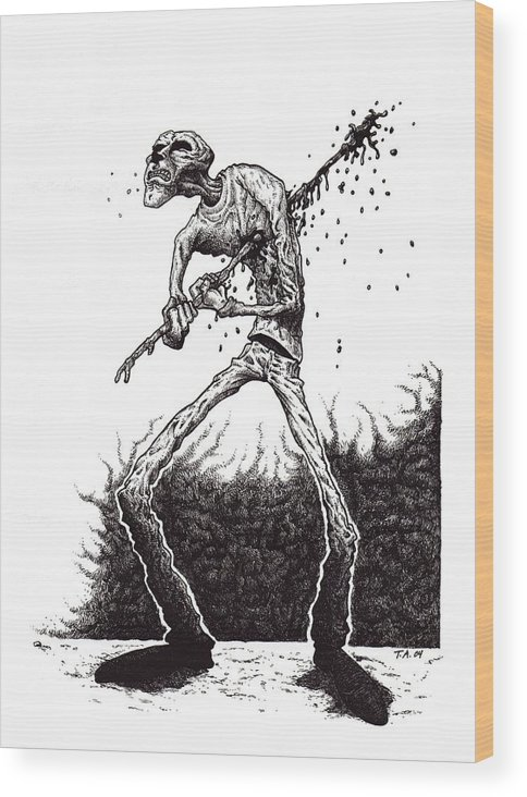 Dark Wood Print featuring the drawing Self Inflicted by Tobey Anderson