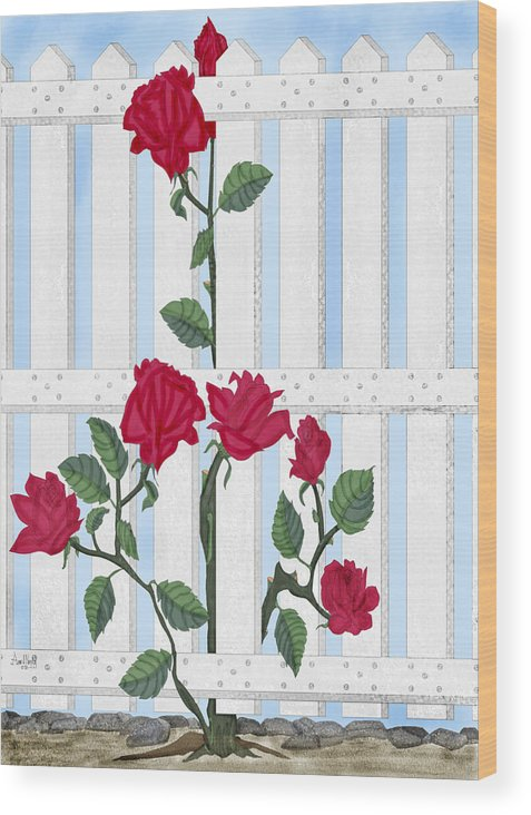 Roses Wood Print featuring the painting Seven Roses for Mary by Anne Norskog