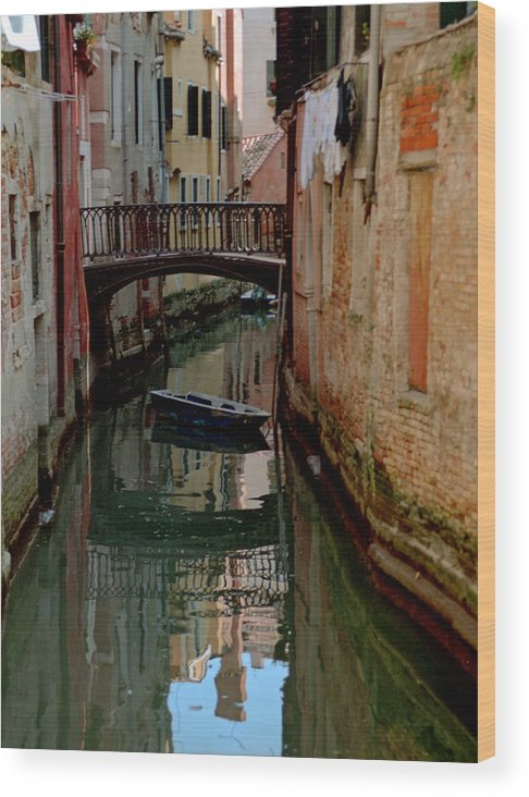 Wood Print featuring the photograph Small Boat on Canal in Venice for Vrooman by Michael Henderson
