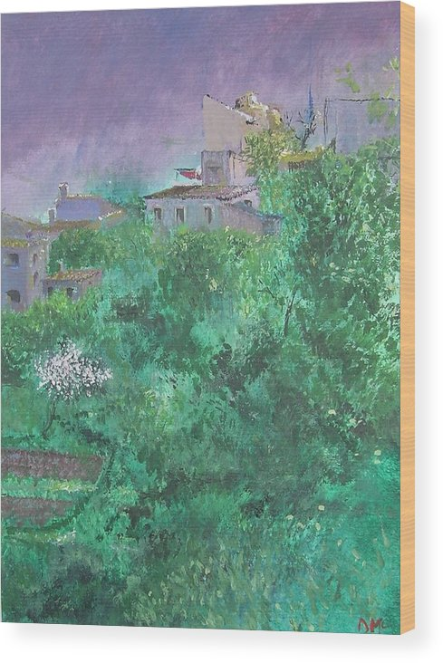 Impressionist Wood Print featuring the painting Solitary Almond Tree In Blossom Mallorcan Valley by Lizzy Forrester