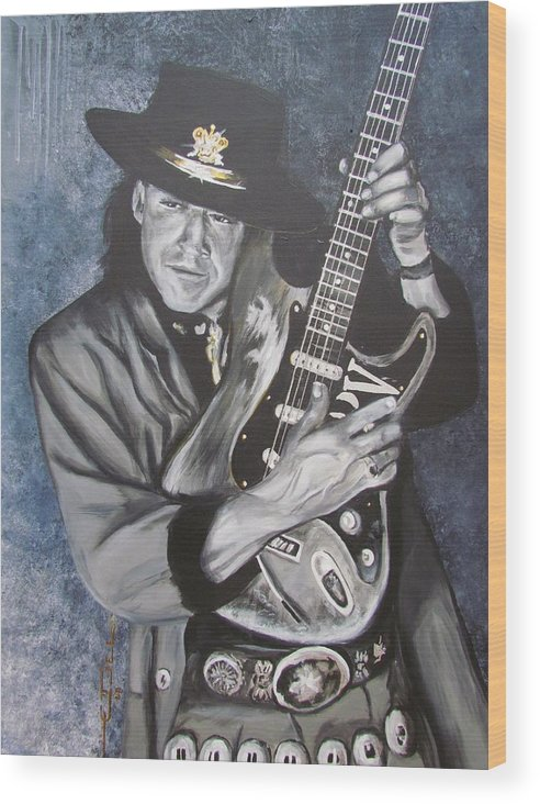 Stevie Ray Vaughan Wood Print featuring the painting SRV - Stevie Ray Vaughan by Eric Dee