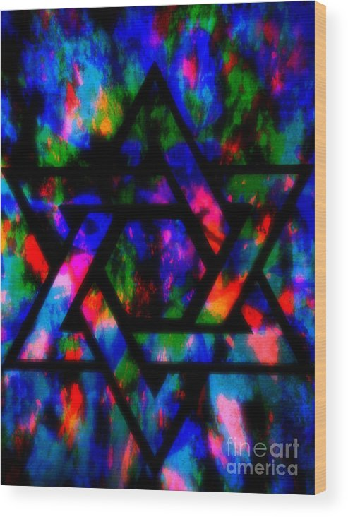 Hebrew Wood Print featuring the painting Star Of David by Wbk