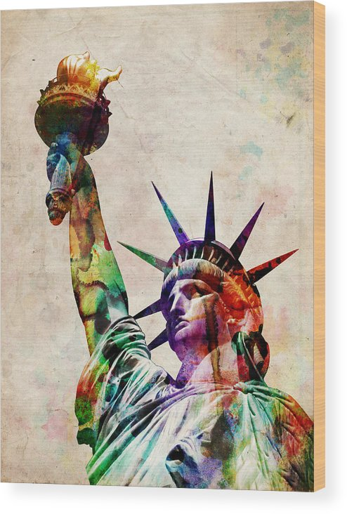 Statue Of Liberty Wood Print featuring the digital art Statue of Liberty by Michael Tompsett