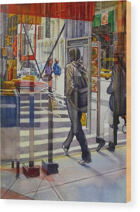Reflection Wood Print featuring the painting Stop and Go by Carolyn Epperly