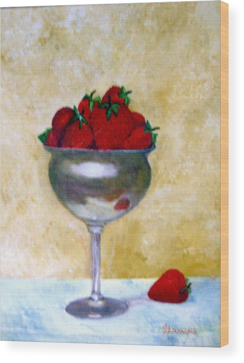 Still Life Wood Print featuring the painting Strawberry Feast by Julie Lamons