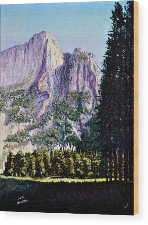 Mountain Wood Print featuring the painting Tetons by Stan Hamilton