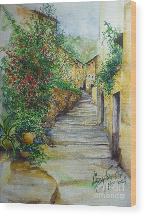 Original Paintings Of Mallorca Wood Print featuring the painting The Balearics typical Spain by Lizzy Forrester