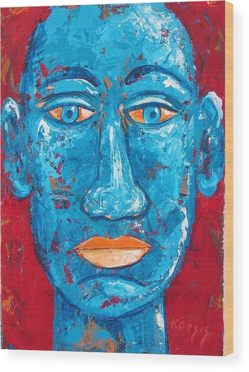 Man Wood Print featuring the painting Contemplative Blue by Rollin Kocsis