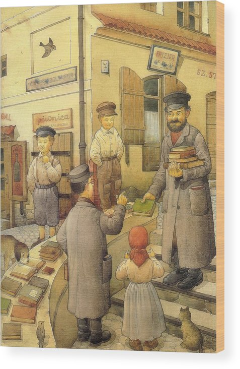 Books Old Town Children Wood Print featuring the painting The Bookman by Kestutis Kasparavicius