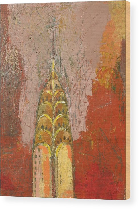 Abstract Cityscape Wood Print featuring the painting The Chrysler In Motion by Habib Ayat