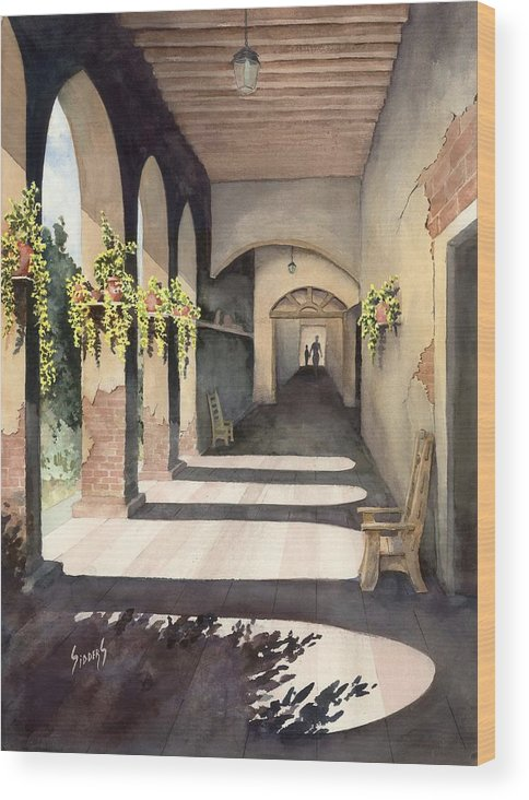 Plants Wood Print featuring the painting The Corridor 2 by Sam Sidders