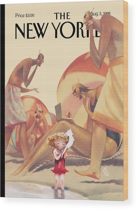 Leisure Wood Print featuring the painting The New Yorker Cover - August 3rd, 1998 by Carter Goodrich