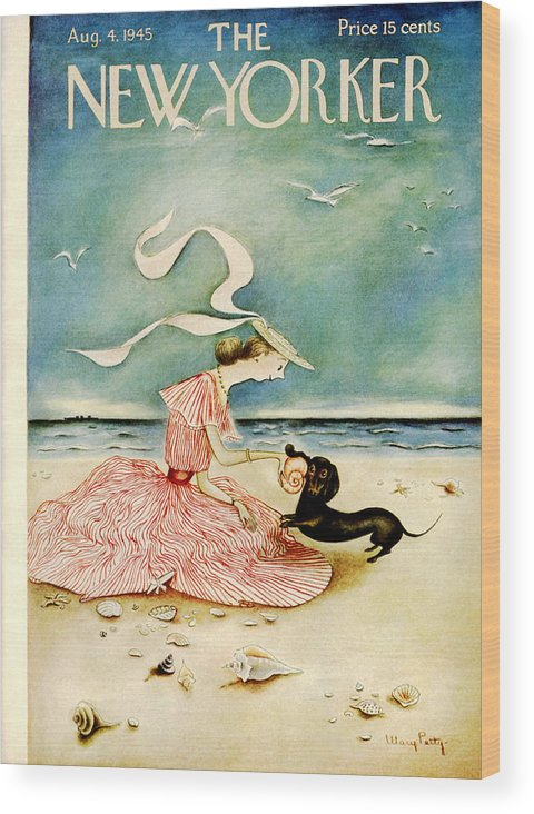 Summer Wood Print featuring the painting New Yorker August 4 1945 by Mary Petty