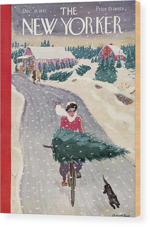 Holidays Wood Print featuring the painting New Yorker December 19, 1942 by Garrett Price