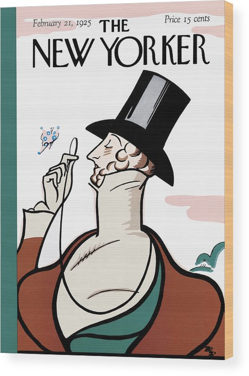 Logo Wood Print featuring the painting New Yorker February 21st, 1925 by Rea Irvin