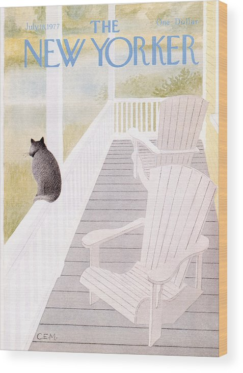 Cat Wood Print featuring the painting New Yorker July 18th, 1977 by Charles E Martin
