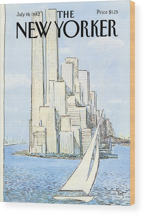Regional Wood Print featuring the painting New Yorker July 19th, 1982 by Arthur Getz