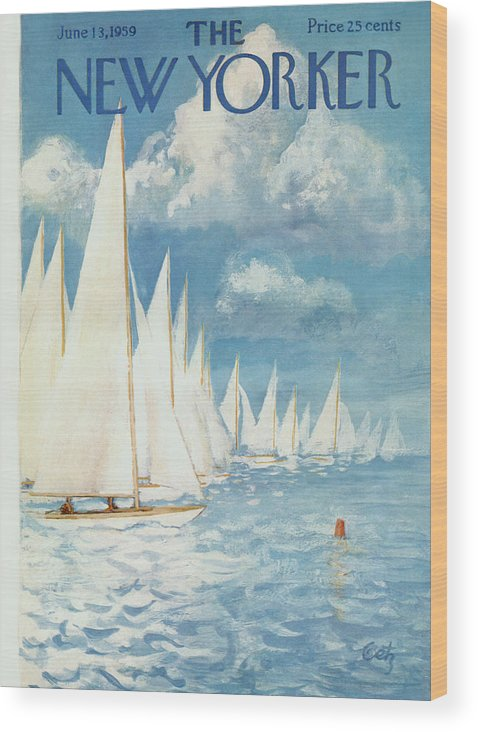 Arthur Wood Print featuring the painting New Yorker Cover - June 13th, 1959 by Arthur Getz