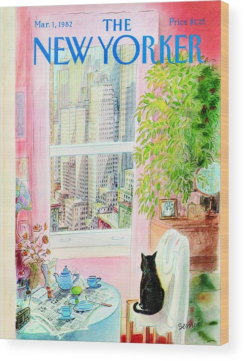 Apartment Wood Print featuring the painting New Yorker March 1, 1982 by Jean-Jacques Sempe