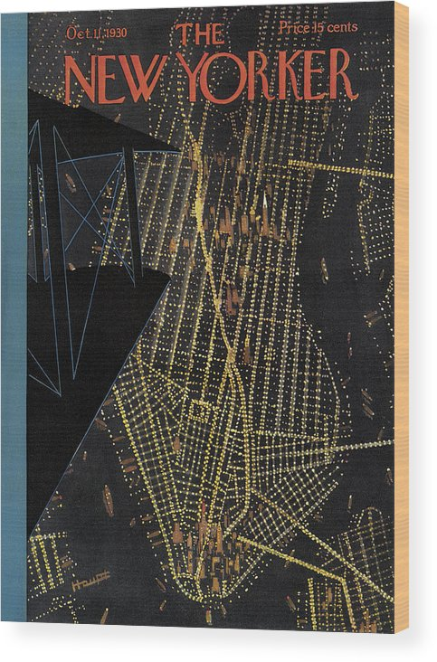 Nyc Wood Print featuring the painting New Yorker October 11th, 1930 by Theodore G Haupt