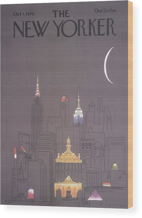 Urban Wood Print featuring the drawing New Yorker October 1st, 1979 by RO Blechman
