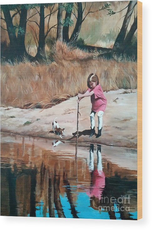 Scenes Wood Print featuring the painting The Pond by Suzanne Schaefer