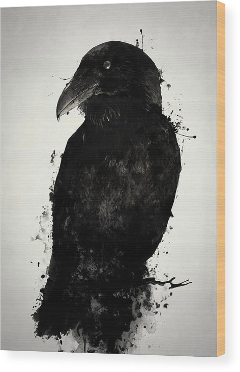 Raven Wood Print featuring the mixed media The Raven by Nicklas Gustafsson