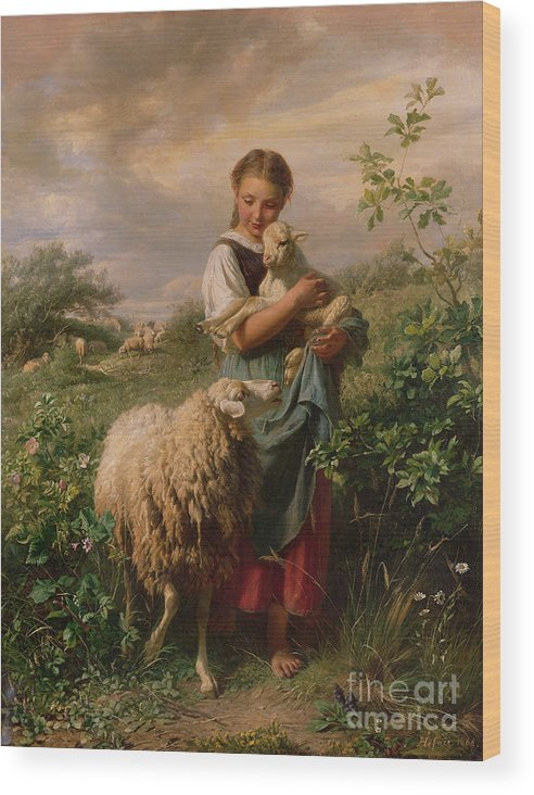Shepherdess Wood Print featuring the painting The Shepherdess by Johann Baptist Hofner