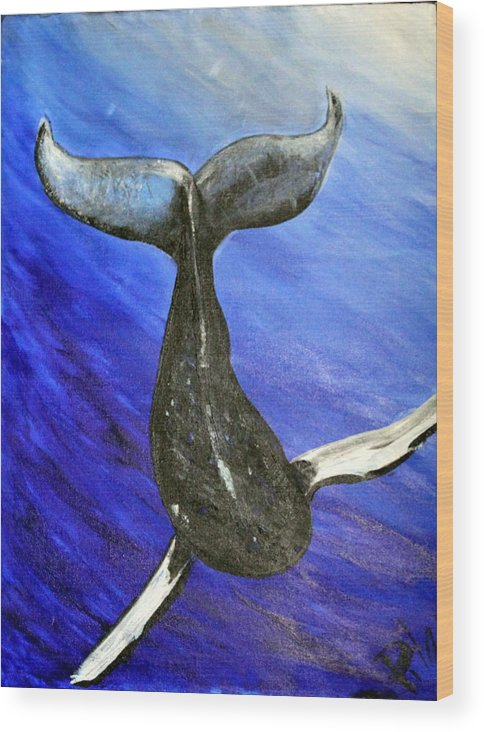 Whale Wood Print featuring the painting The Whale by Pilar Martinez-Byrne