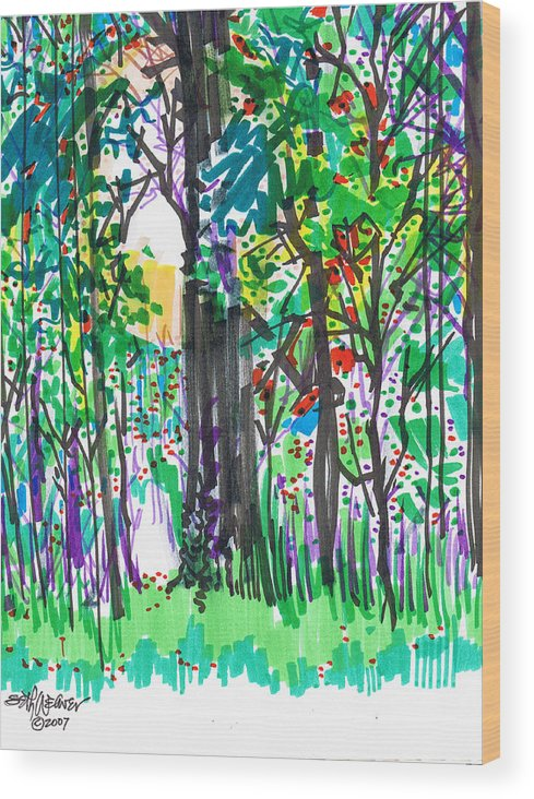 Forest Wood Print featuring the drawing Thicket by Seth Weaver