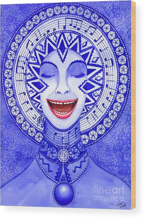 Chakra Wood Print featuring the painting Throat Chakra by Catherine G McElroy