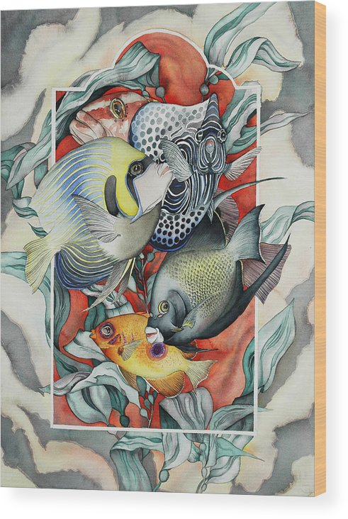 Fish Wood Print featuring the painting Through my underwater front window by Liduine Bekman
