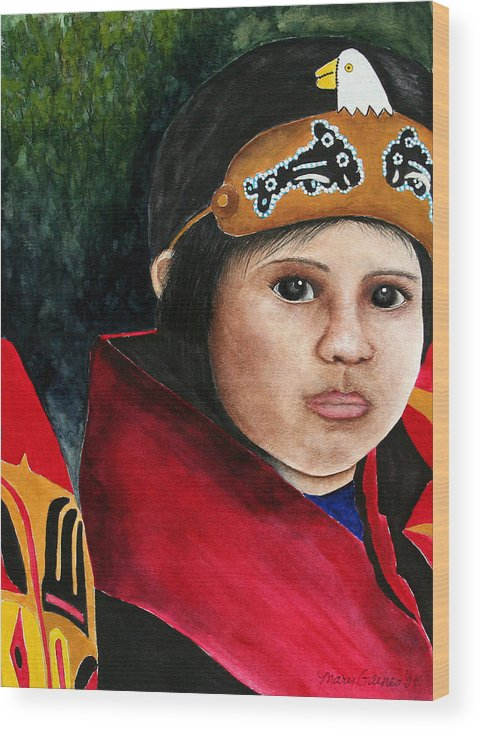 Native Wood Print featuring the painting Tinglit Native Girl by Mary Gaines