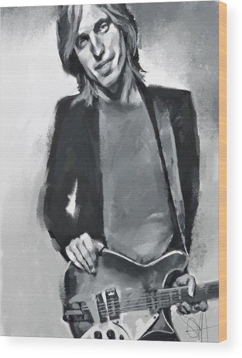 Tom Petty Music Portrait Musician Rock Wood Print featuring the digital art Tom by Scott Waters