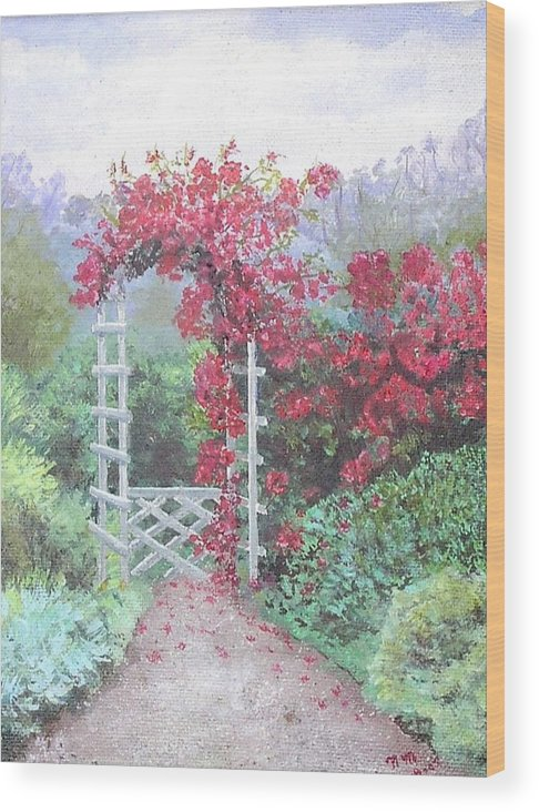 Oil Painting Wood Print featuring the painting Trillis With Flowers by Nicholas Minniti