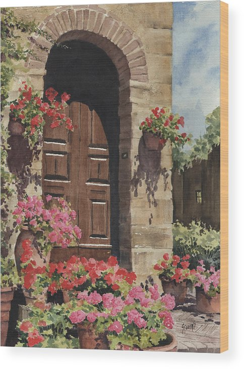 Flowers Wood Print featuring the painting Tuscan Door by Sam Sidders