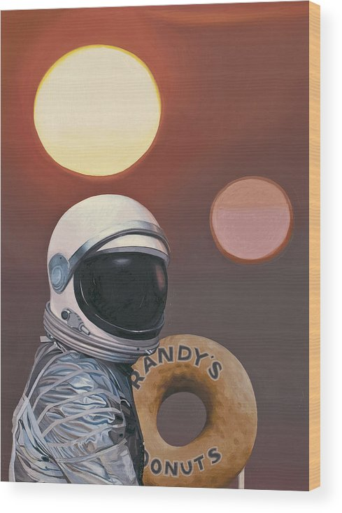 Space Wood Print featuring the painting Twin Suns and Donuts by Scott Listfield